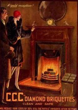 Fireplace vintage postcard