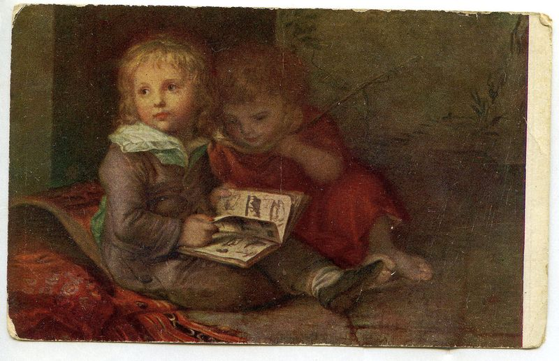 Two Children with book