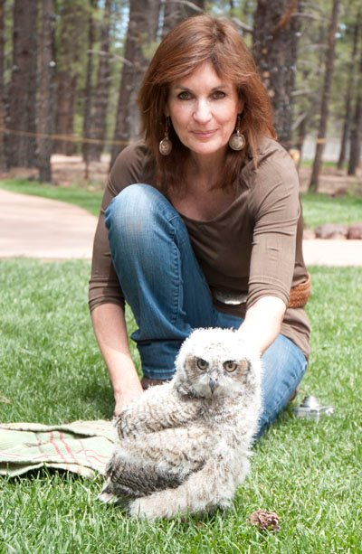 Lynda photo with George the baby owl