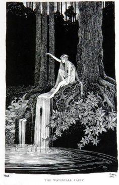 Waterfall fairy vintage print