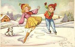 Children Skating On Ice vintage postcard