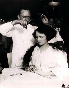 Woman Having Hair Bobbed