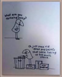 Clearing out the clutter cartoon