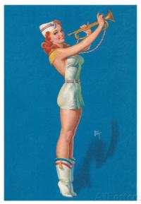Girl Blowing A Bugle