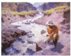 Vintage postcard gold prospecting