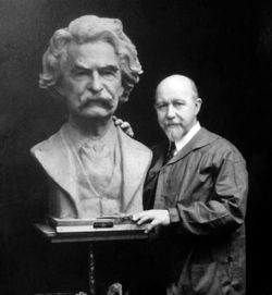 Walter Russell with his bust of Mark Twain