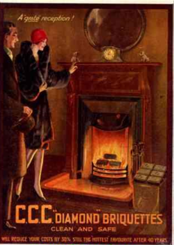 Fireplace vintage postcard