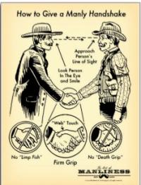 Manly handshake