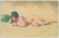 Young Girl Surreptitiously Bathing In The Nude