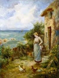 Women feeding chickens