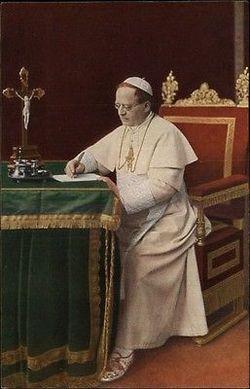 Pope Pius XI writing c1910