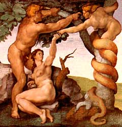 Serpent Coiling Between A Man And A Woman
