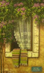 An Open Window And A Net Curtain Turning Into A Cornucopia painting by Gunseli Kapucu