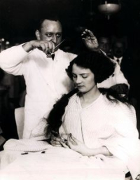 Woman Having Hair Bobbed
