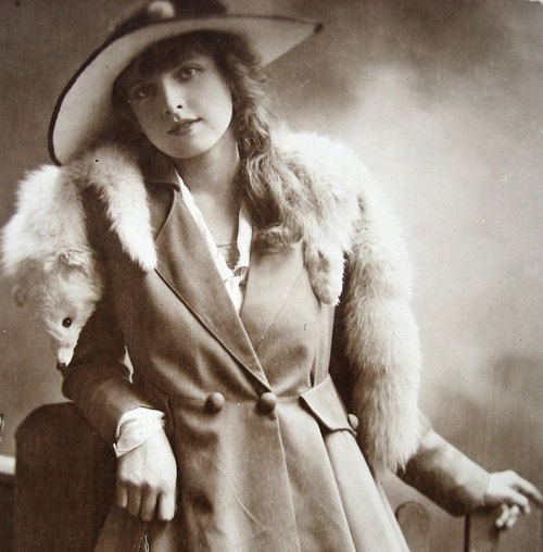 Lady Wrapped In Fox Fur